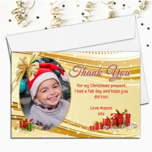 10 Personalised Gold Sparkle Christmas Thank you Thank you PHOTO Cards N30
